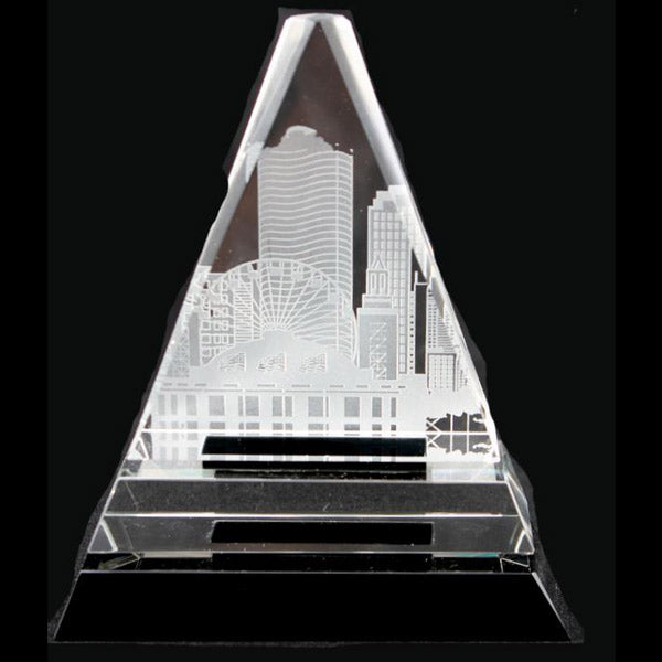 Clear Triangle on Black Crystal pedestal base With Custom Engraving 6.5""