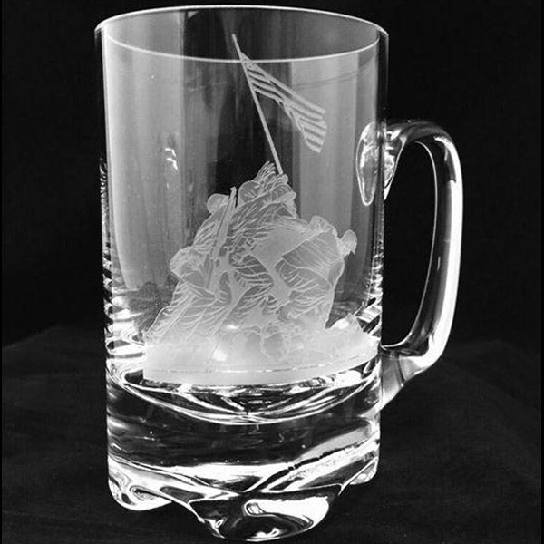 Flag at Iwo Jima on Crystal Beer Mug