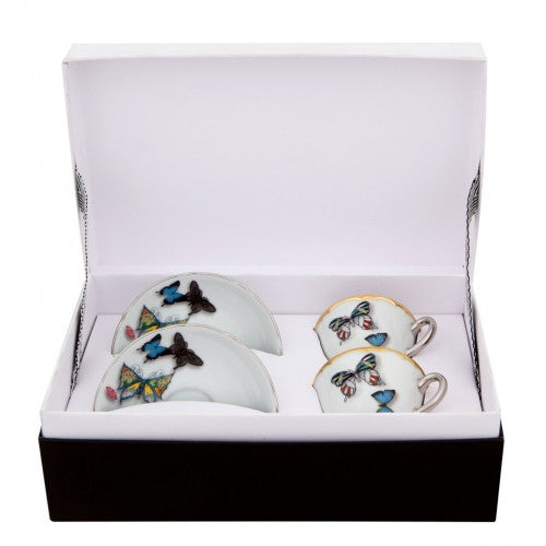 Lacroix Butterfly P. Set 2 Coffee Cups & Saucers - Butterfly Parade - Dinnerware - Vista Alegre