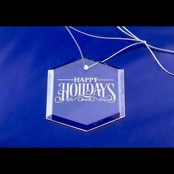 Crystal ornament engraved with Happy Holidays