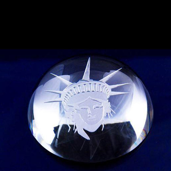 Statue of Liberty head engraved on crystal