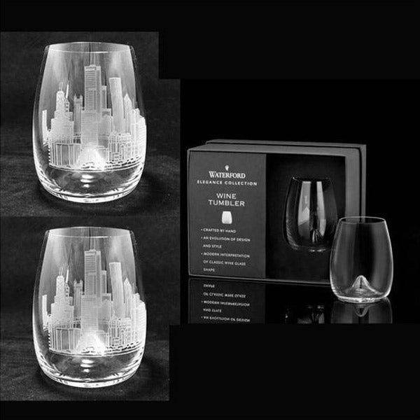 Chicago Skyline etched on Waterford stemless wine glasses (Pair)