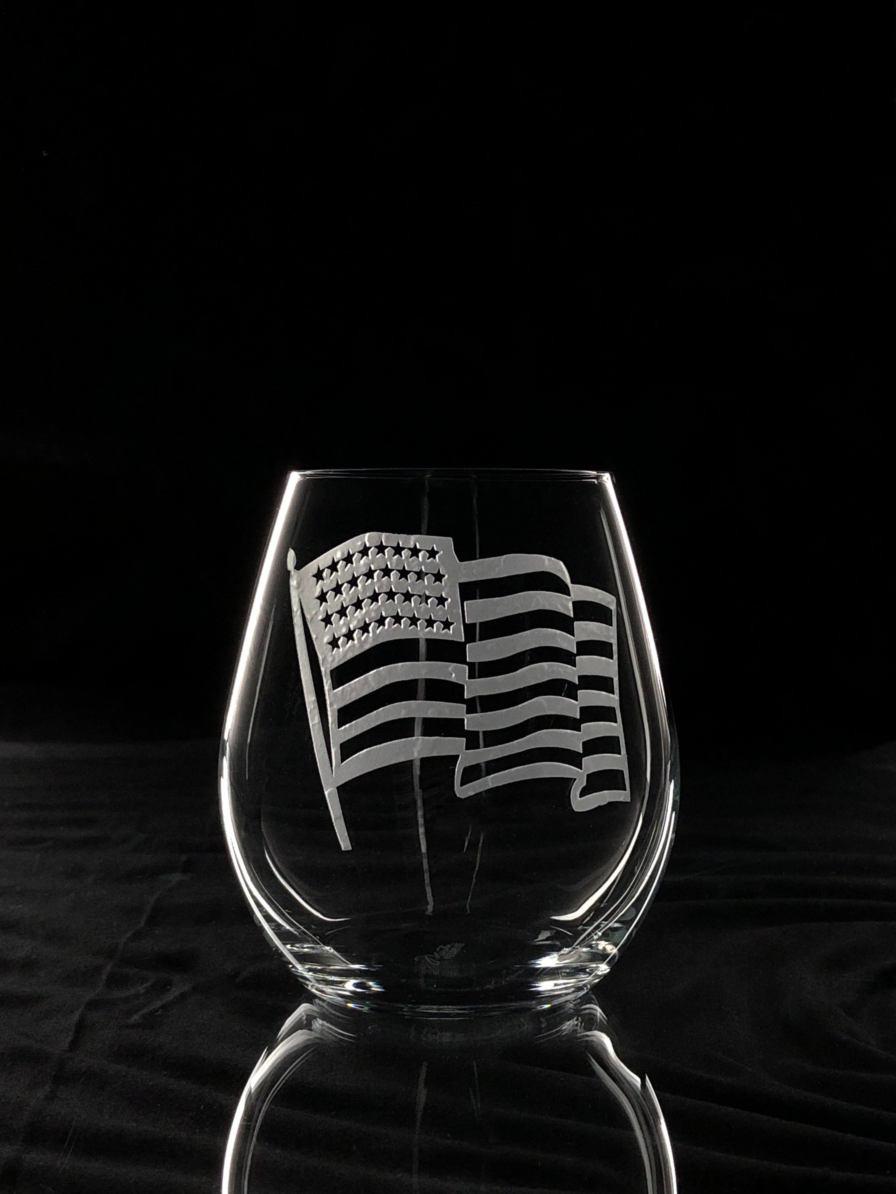 American Flag Engraved on Stemless Crystal Wine Glass