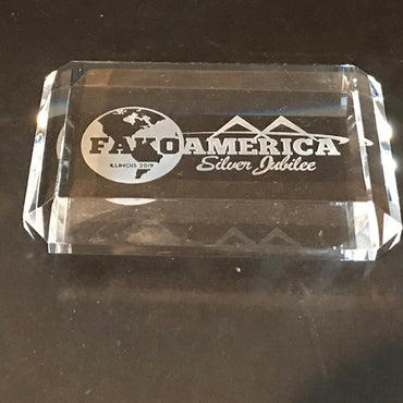 Crystal Paperweight carved with Fako logo