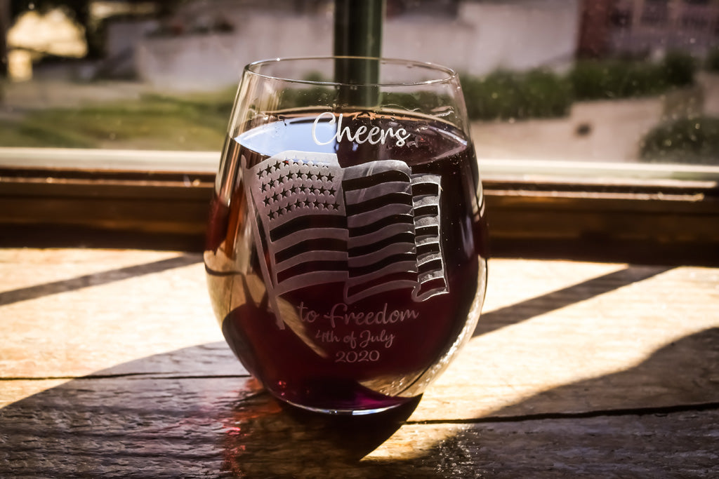 4TH JULY Stemless Wine GLASS
