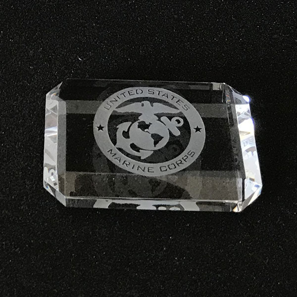 Navy Logo engraved crystal paperweight