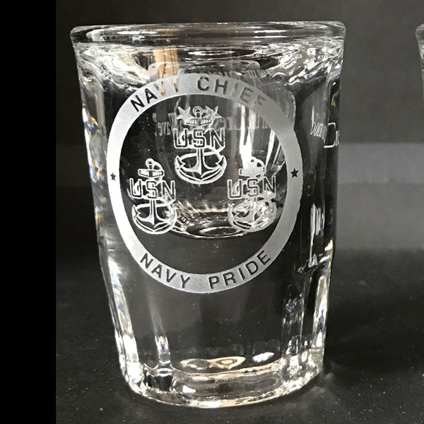 Navy Chief Logo carved,  engraved Shot Glasses - 1 Pair