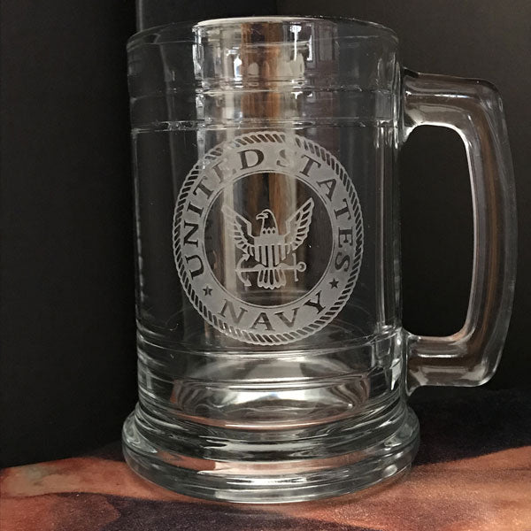 Military Insignia Engraved on Maritime Beer Mug