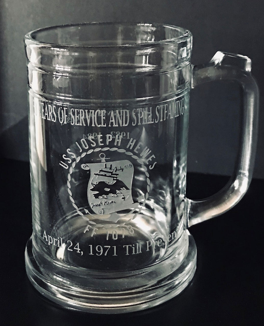 USS Joseph Hewes Commemorative Sand carved Beer Mug