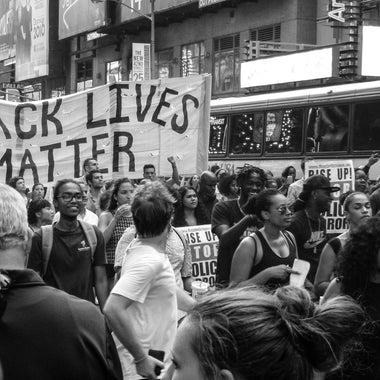 Black Lives Matter protests in black and white
