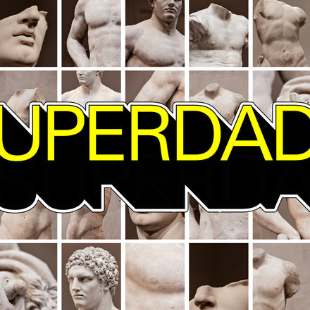 superdad text transposed on grid of images of sculptures