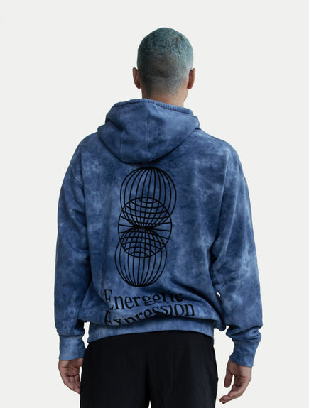 asystem blue tie die hoodie on model back facing