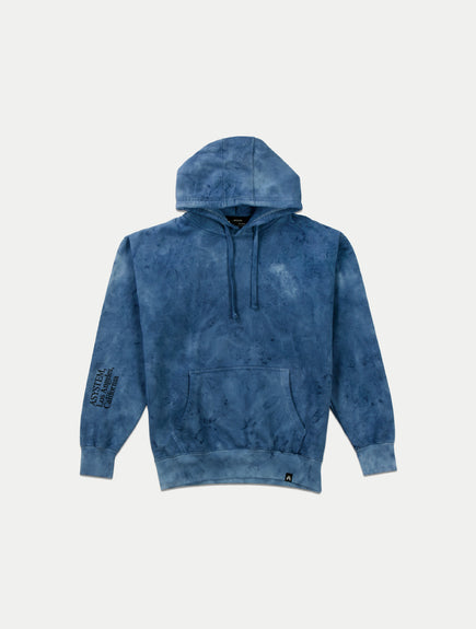 asystem blue tie die hoodie on model flat lay