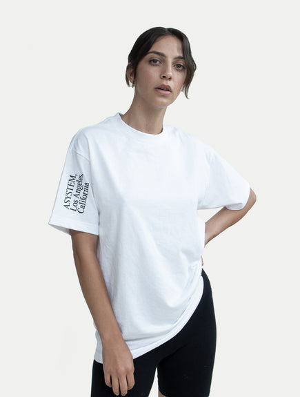 asystem white t-shirt on female model front