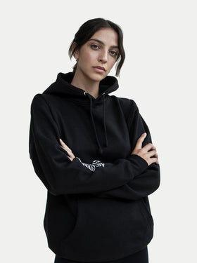 asystem black tie die hoodie on female model