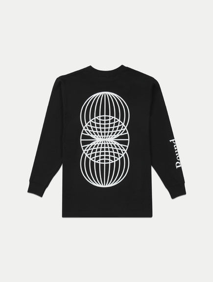 asystem black long sleeves shirt flat lay back