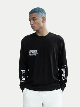 asystem black long sleeves shirt on male model