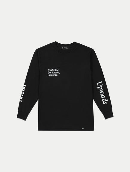 asystem black long sleeves shirt flat lay front