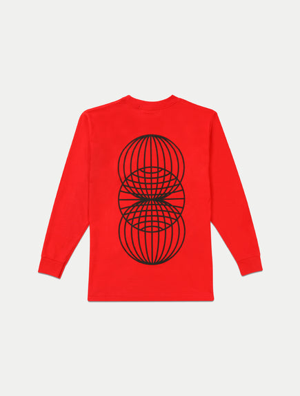 asystem red long sleeves shirt flat lay back