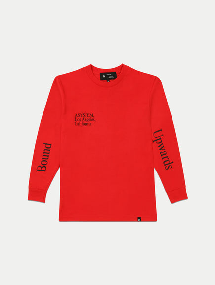 asystem red long sleeves shirt flat lay front