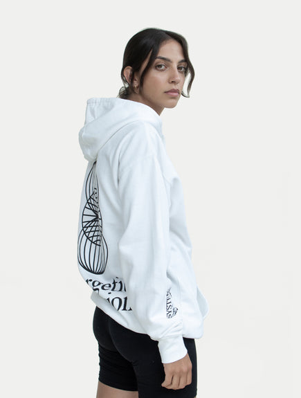 asystem white hoodie on female model back