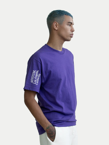 asystem purple t-shirt on male model front