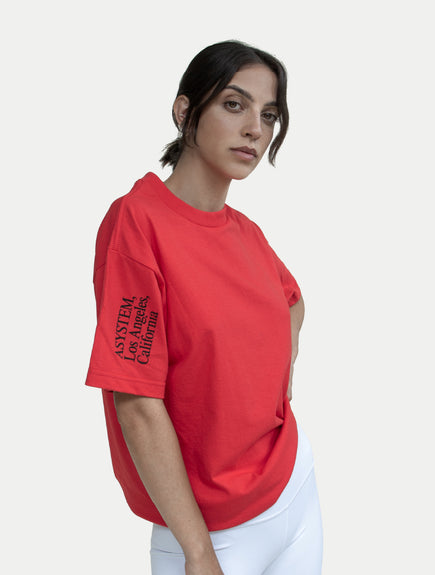 asystem red t-shirt on female model front