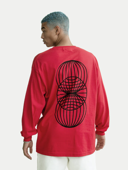 asystem red long sleeves shirt on male model back
