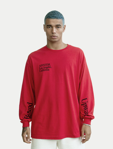 asystem red long sleeves shirt on male model front