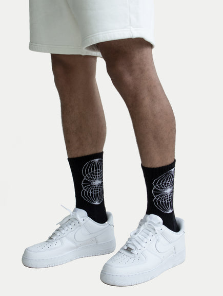 asystem black socks with bound upwards logo