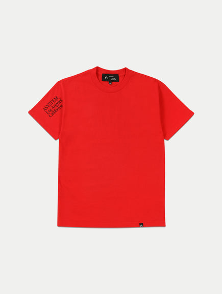 asystem red t-shirt flat lay front