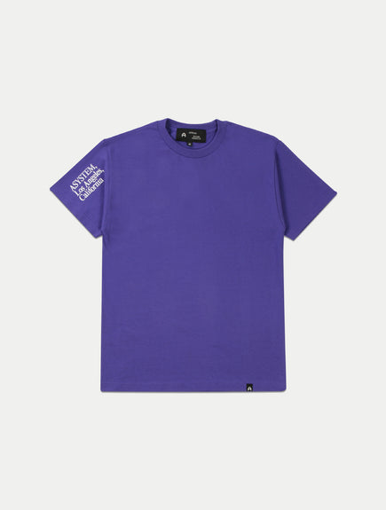 asystem purple t-shirt flat lay