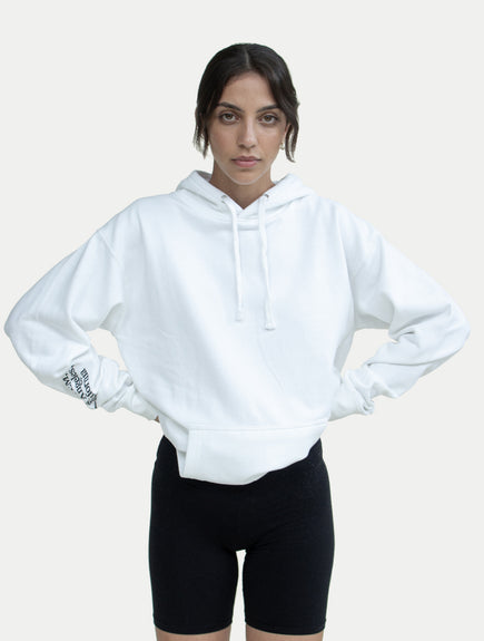 asystem white hoodie on female model front