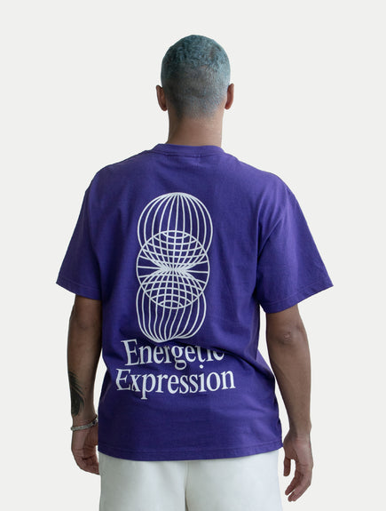 asystem purple t-shirt on male model back
