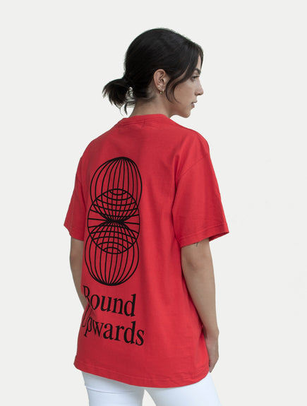 asystem red t-shirt on female model back