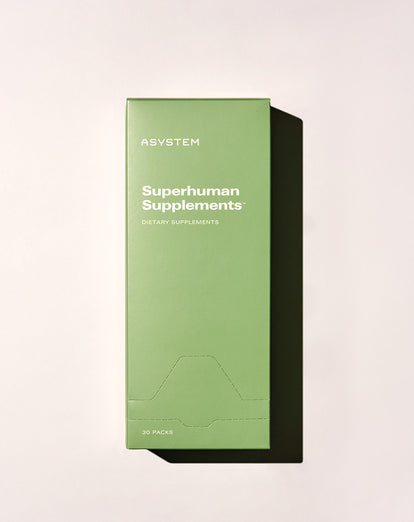asystem supplements box flat lay