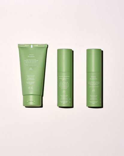 three asystem skincare kit products side by side as a flat lay showing back of product