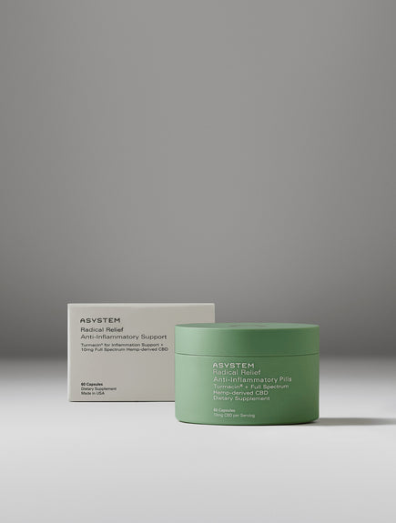 white gradient background with the product packaging positioned slightly behind the green product pill container