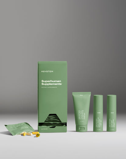 white gradient background with supplements product beside the three skincare kit items