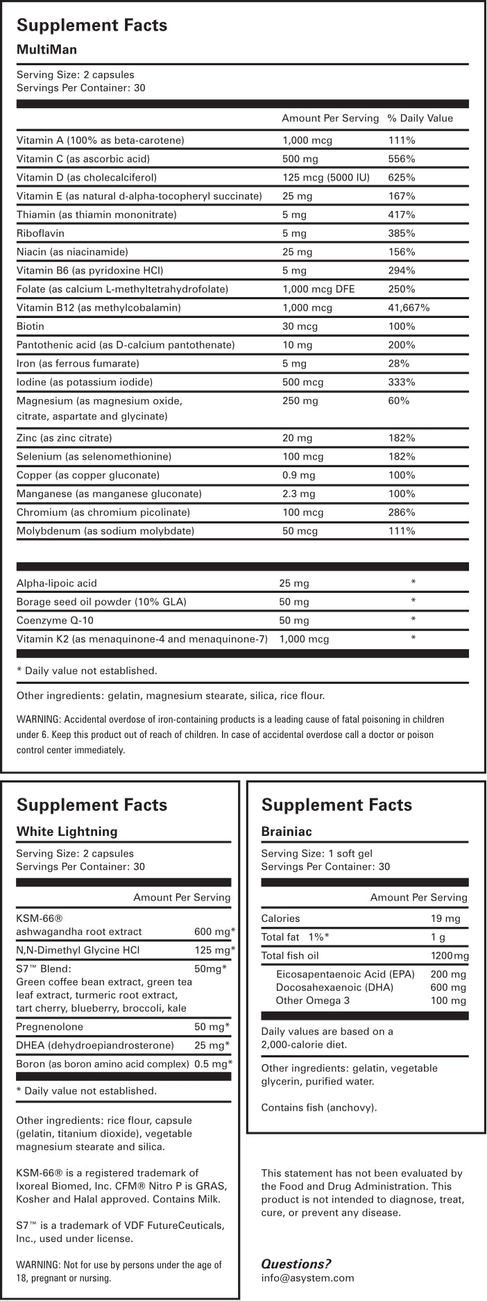 Superhuman Supplement Facts