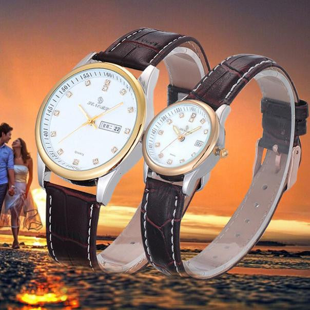 1 Pair Luxury Couples Rhinestone Watches