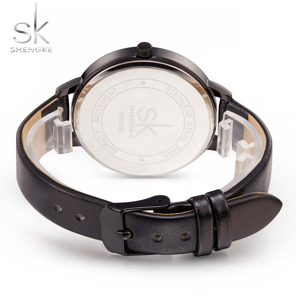 Fashion ladies elegant marble leather watch
