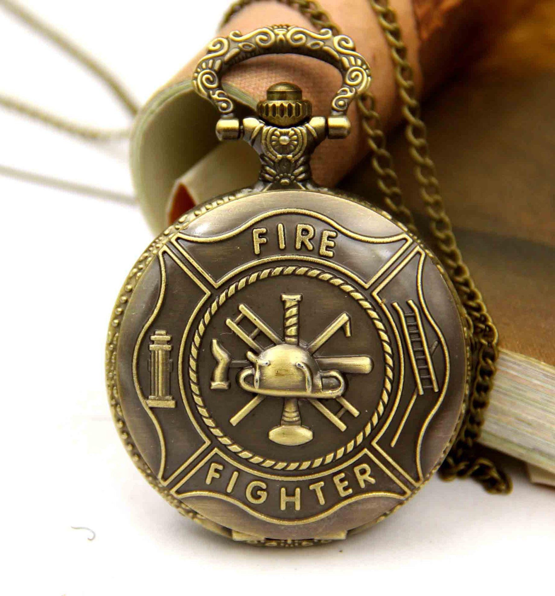 Retro Fire Fighter Pocket Watch