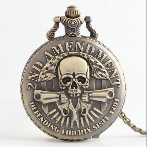 Retro Two Guns Head Skull Pocket Watch