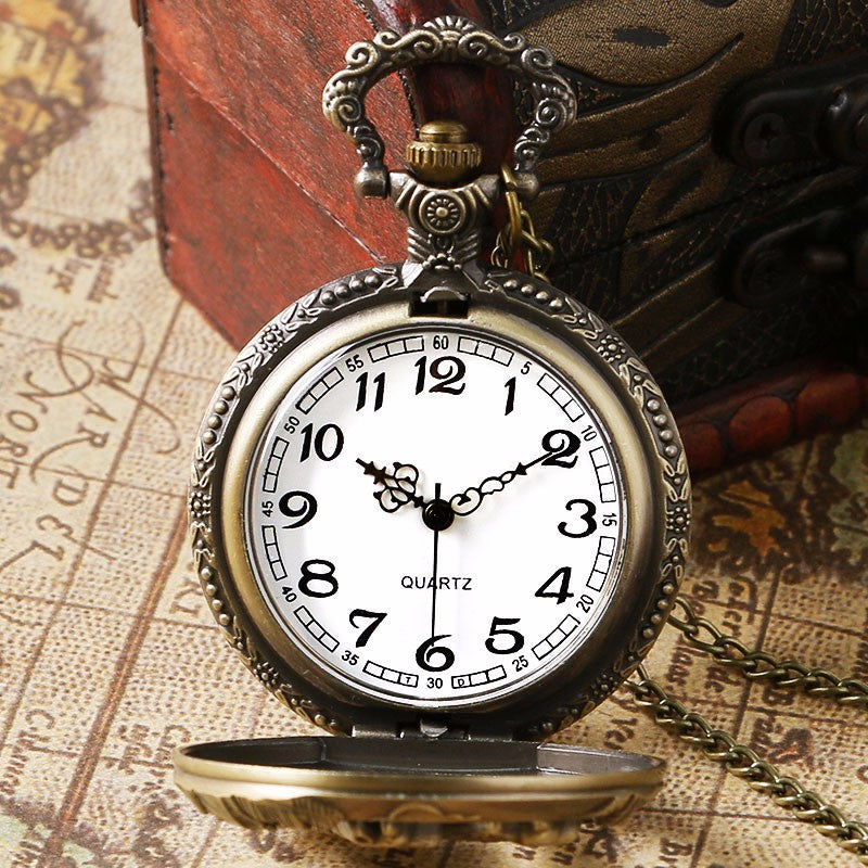 Retro Relief Flip Pocket Watch