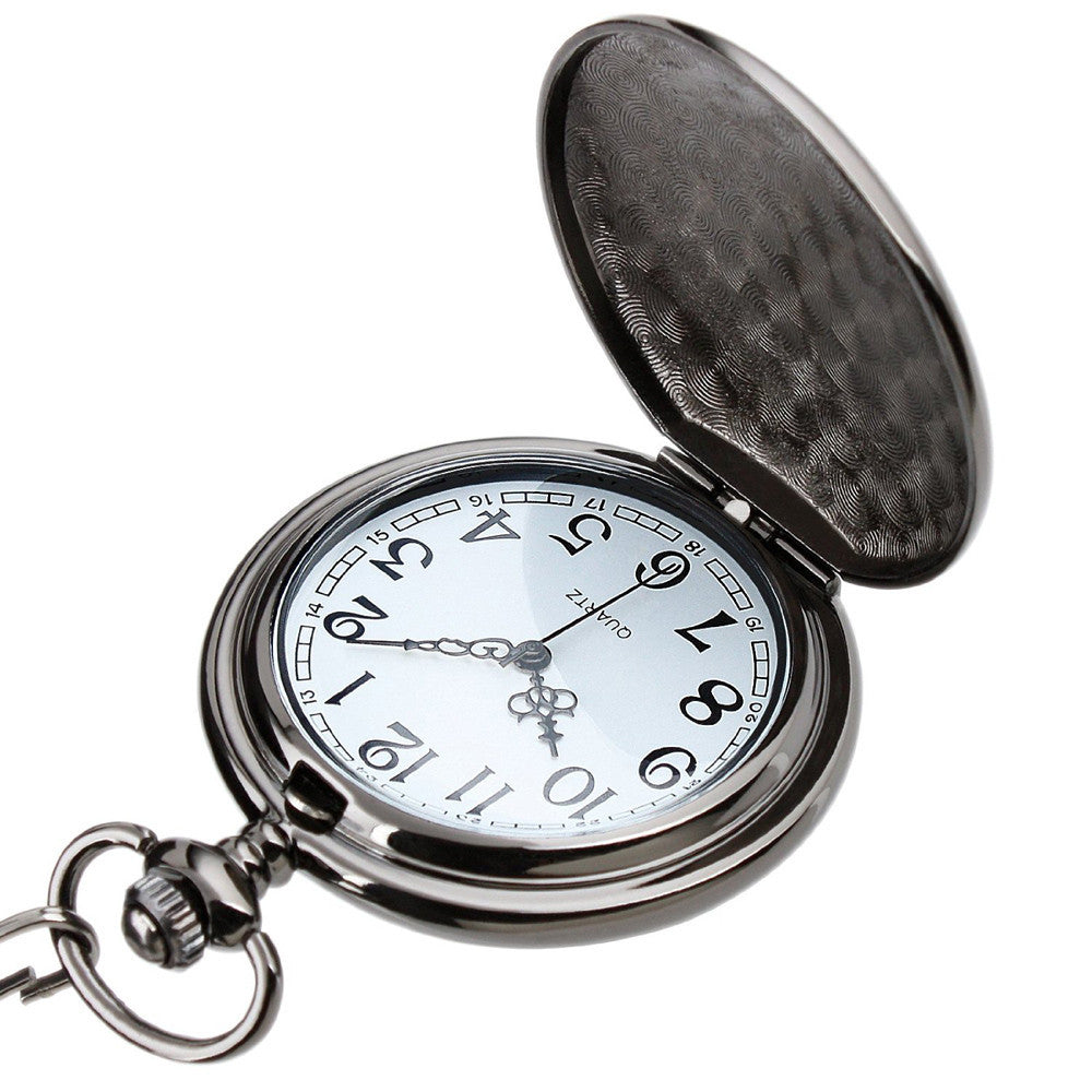 Fashion Black Gun Color Pocket Watch
