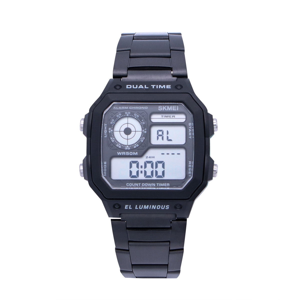 Men's Sports Stainless LED Watch