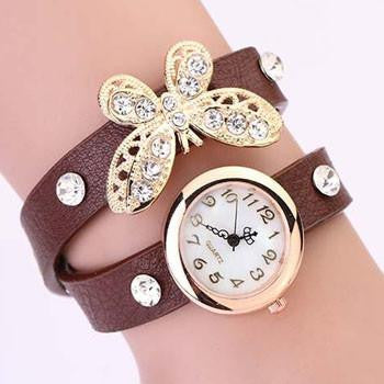 Butterfly Diamond Leather Watch