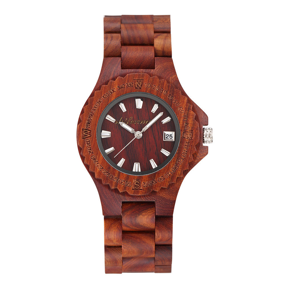 Men's Women's Quartz Wood Watch