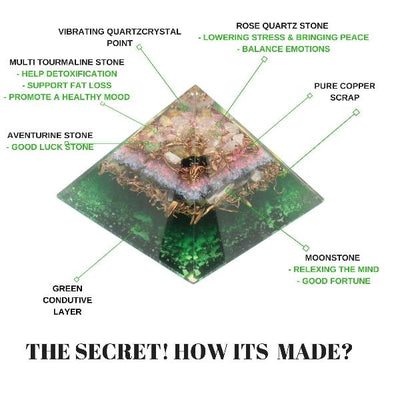 Orgone Multi tourmaline Copper Energy pyramid